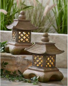 2 Garden Solar Pagoda Tower Lantern Oriental Ornament Statue Decor Garden Patio