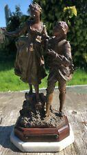 """Antique bronzée Zinc Brut figures par Rousseau """"Shopping Robot & Mignon"""", par Rancoulet"""