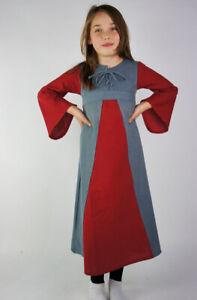 Mittelalter kleid Larp Baumwolle Gewand rot blau Kind Kinder Mädchen