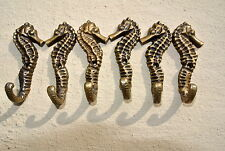 "6 small SEAHORSE BRASS HOOK COAT WALL MOUNTED HANG TROPICAL old style hook 3"" B"