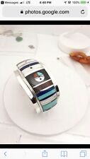 native american bracelet H Smith Multi Color Setons Sterling Silver