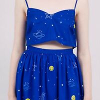 THE WHITEPEPPER  Hipster Blue Space Rocket Pattern Strappy Cami Crop Top #41B413