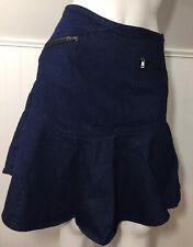 Anthropologie Ruffled Denim Skirt SB Sachin + Babi 2 Pockets Zipper 100% Cotton