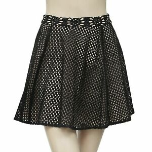 Alice + Olivia Crochet Black Mini Skirt Bead Embellished Summer XS New 189912