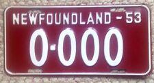 1953 NEWFOUNDLAND & LABRADOR CANADA PROVINCE SAMPLE ALL ZEROS LICENSE PLATE NF