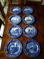 8 Antique Historical England WEDGWOOD Flow Blue Plates Jones McDuffee & Stratton