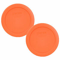 """Pyrex 7200-PC Round 2Cup 5"""" Storage Lid Cover 2 Pack Orange for Glass Bowl New"""