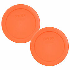 "New Pyrex 7200-PC Round 2Cup 5"" Storage Lid Cover 2 Pack Orange for Glass Bowl"
