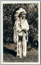 BLACKFOOT INDIAN CHIEF MIDDLE CALF ANTIQUE REAL PHOTO POSTCARD RPPC