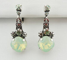 KIRKS FOLLY FAIRY ESSENCE LEVERBACK EARRINGS ~NEW RELEASE ST/CHRYSOLITE CRYSTAL