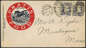 USA 1889 2 x 1c Blue Pratts Poultry Food Horse Illustrated Advertising Envelope