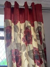 Red Floral Lined Curtains  Eyelets 66x90 IMMACULATE