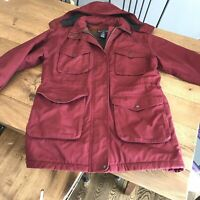 Lands' End Womens Medium 10-12 Red Insulated Wool Hooded Winter Coat - Free Ship