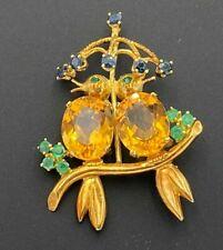 Love Birds Branch Umbrella Pin Brooch 14K Yellow Gold Citrine Sapphire Emerald