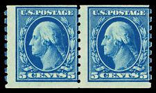 Scott 396 1913 5c Washington Perforated 8½ Mint Coil Pair Avg-Fine LH Cat $160