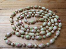 Vintage Cream Long Bobble Bead Necklace/Marbled/Plastic/Retro/Kitsch/1960's/70's