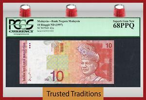 """TT PK 42a 1997 MALAYSIA 10 RINGGIT """"T.A. RAHMAN"""" PCGS 68 PPQ SUPERB GEM NEW!"""