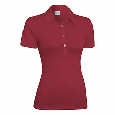 Ashworth Women's Performance EZ-SOF Solid Short Sleeve Polo Sangria (red) small