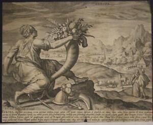 EUROPEAN CONTINENT 1581 JAOHANNES SADELER ANTIQUE ORIGINAL COPPER ENGRAVED PLATE