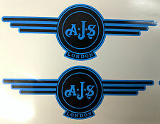 AJS London Stickers x2 A.J.S Decals Logo Tank Motorcycle Vintage Black & OLYMPIC