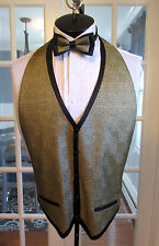 MENS VINTAGE FORMAL VEST GOLD & BLACK CHECKER BOW TIE & SQ. LARGE NB1