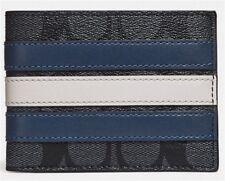 COACH 'Signature w/ Varsity Stripe' Men's Coated Canvas Slim Billfold Wallet NEW