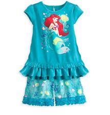 Disney Princesas Sirenita Ariel 2pc Pijama Corto Juego Tamaño Pequeño 5/6