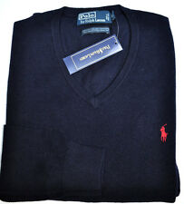 NWT POLO RALPH LAUREN MEN BUSINESS THIN MERINO WOOL SWEATER V NECK NAVY XXL 2XL