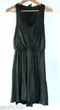 NWT Ella Moss Black Gold Shimmer Sexy Designer Cotton Modal Dress Chic S $149