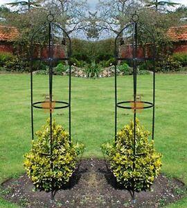 Set of 2 Garden Obelisk Climbing Plants Support Roses Metal Arch 1.9m High Pair