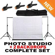 10Ft Photography Black + White Screen Studio Muslin Photo Kit Background Stand V