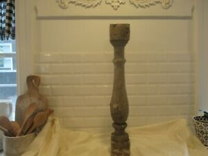 Antique wood baluster spindle with old chippy paint. Chunky