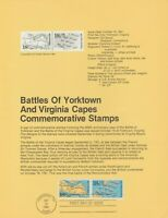 "US #1937-1938  SOUVENIR PAGE FDC BATTLE OF YORKTOWN ""FREE SHIPPING"""