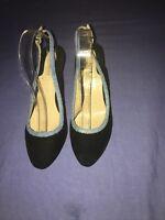 Reiss Women Black Suede /Leather Slingback Heels Size 7/41