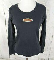 Womens HARLEY DAVIDSON Long Sleeve Shirt Patch Buckles M Black Ribbed Cotton
