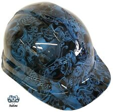 Hydro Dipped Hard Hat High Gloss Light Blue Filigree Skulls 6 Point Harness