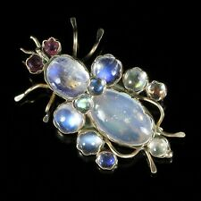 ANTIQUE VICTORIAN MOONSTONE RUBY BUG BROOCH 9CT GOLD