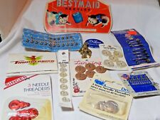 Antique Sewing items Needles Buttons lot of 11 Bestmaid
