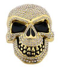 Mens Womens Skulls Skeleton Belt Buckle Gold Rhinestone Metal Goth Tattoo Tribal