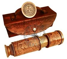 """Dollond London 14"""" Antique Brass Telescope Maritime Spyglass With Leather Case"""