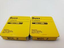 Lot Of 10 Buss MDL2 250V 2 Amp Time Delay 1/4 x 1-1/4 Bussmann Fuses