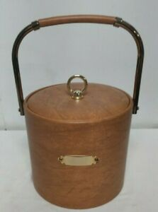 Vintage Georges Briard Brown Faux Leather Insulated Lidded Handled Ice Bucket