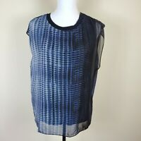 Elie Tahari Layered Silk Top Blouse Shirt Sleeveless Women's Size L Large