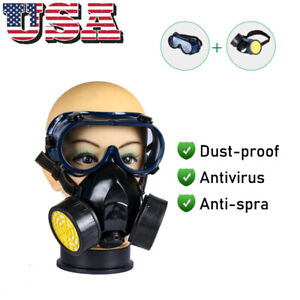 Emergency Gas Mask Goggles Survival Safety Respiratory Dual Protection Filter