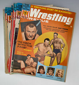 Vintage lot of 16 Wrestling Revue Mag 65-72 Kiniski Thesz Kirby Destroyer Watts
