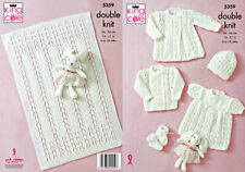 "King Cole Knitting Pattern 5359~Diamond Lace Layette & Blanket~DK~14-21"""