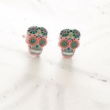Day Of The Dead Pink Skull Face Cufflinks Dad Father Birthday Christmas