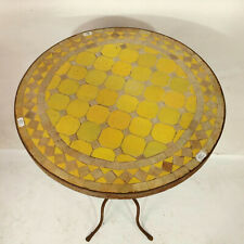 Mosaic Table Morocco Side Yellow Tea Flower Vintage Antique Furniture