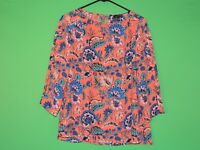 The Limited Womens Size M Medium Orange Floral Geometric 3/4 Slv Shirt / Top
