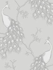 NUOVO BELLE DECOR Empress PAVONE SHABBY CHIC Carta da Parati Bianco / Grigio / Argento fd40712